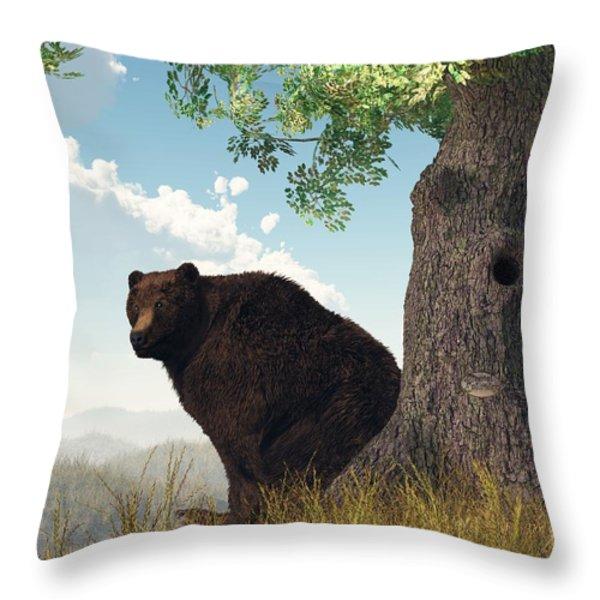 Sitting Bear Throw Pillow by Daniel Eskridge