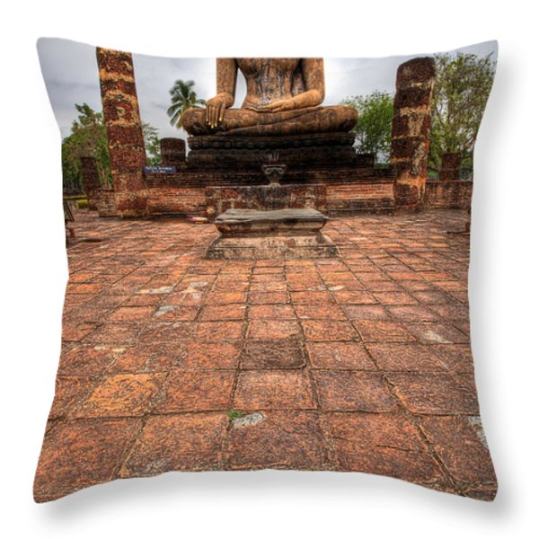 Sitting Buddha Throw Pillow by Adrian Evans