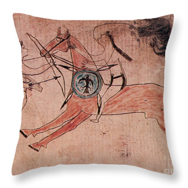 Sitting Bull Wins His First Battle Throw Pillow by Photo Researchers