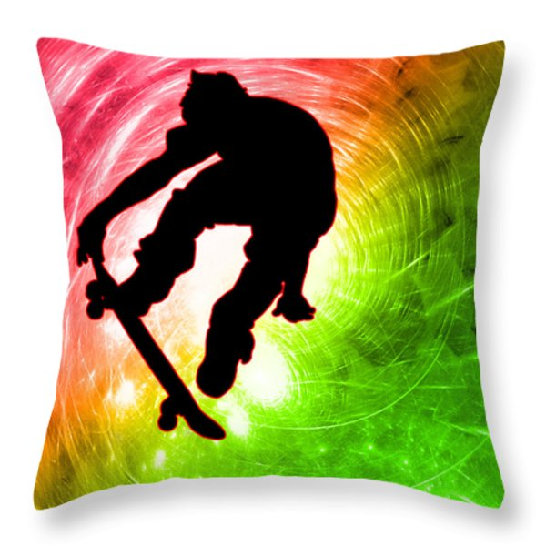 Skateboarder In A Psychedelic Cyclone Throw Pillow by Elaine Plesser