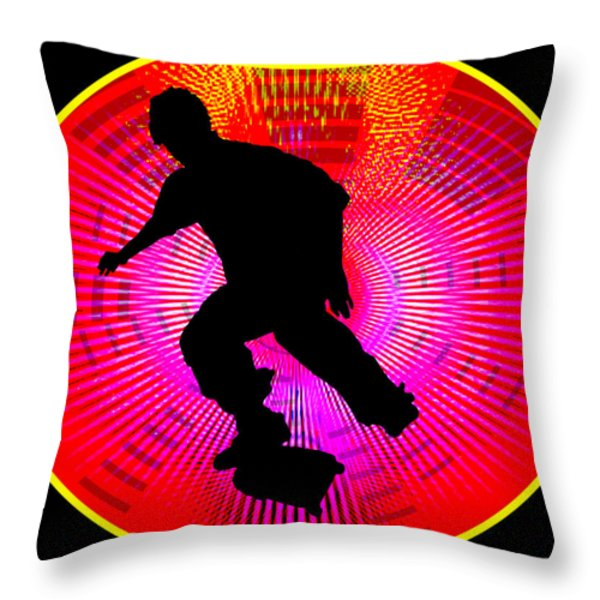 Skateboarding On Fluorescent Starburst Throw Pillow by Elaine Plesser