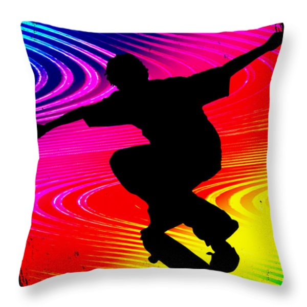 Skateboarding On Rainbow Grunge Background Throw Pillow by Elaine Plesser