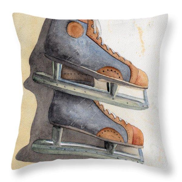 Skates Throw Pillow by Ken Powers