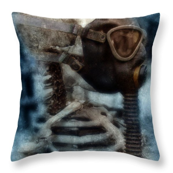 Skeleton in Gas Mask Throw Pillow by Jill Battaglia