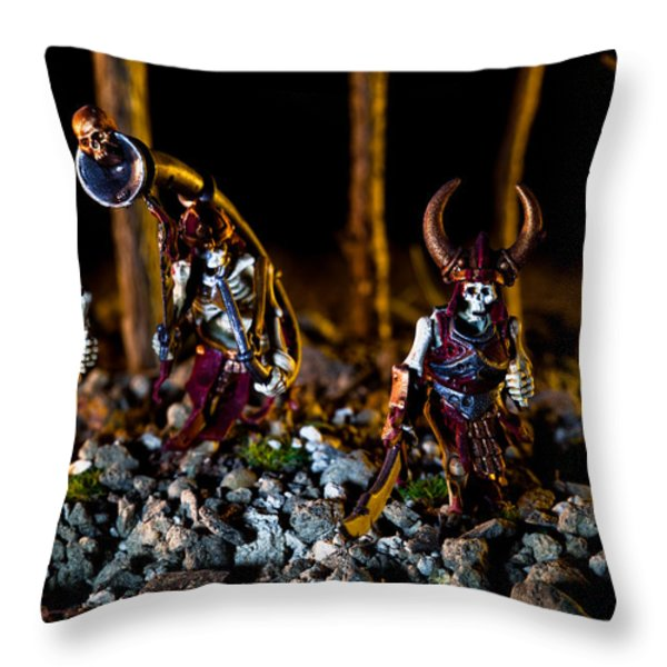 Skeletons Patrolling The Cursed Forest Throw Pillow by Marc Garrido
