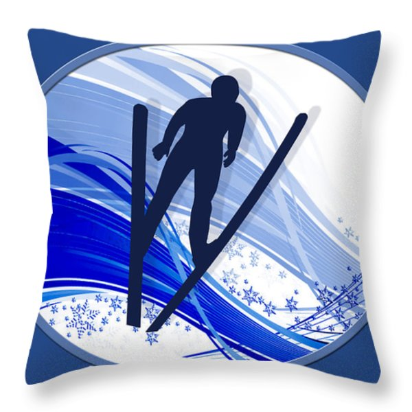 Skiing And Snowflakes Throw Pillow by Elaine Plesser
