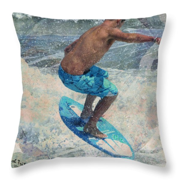 Skimboardin' In Dewey Throw Pillow by Trish Tritz