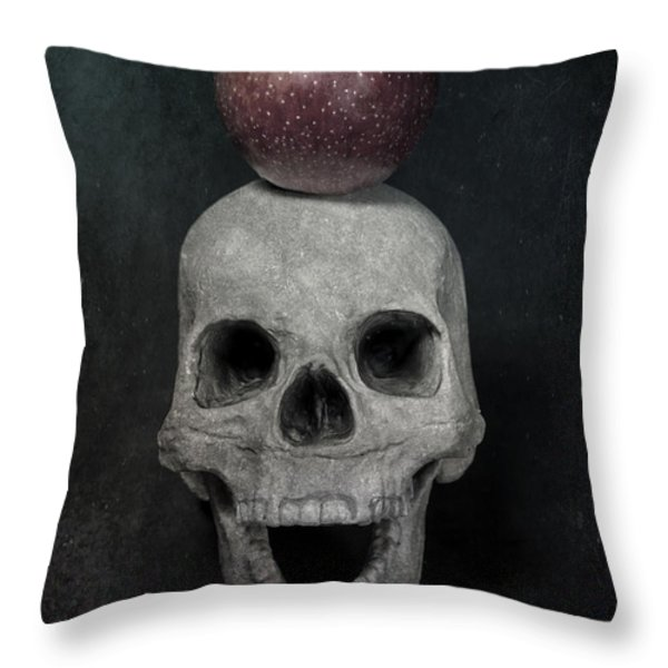 Skull And Apple Throw Pillow by Joana Kruse