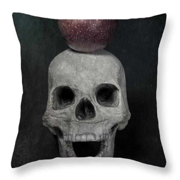 skull and apple Throw Pillow by Joana Kruse