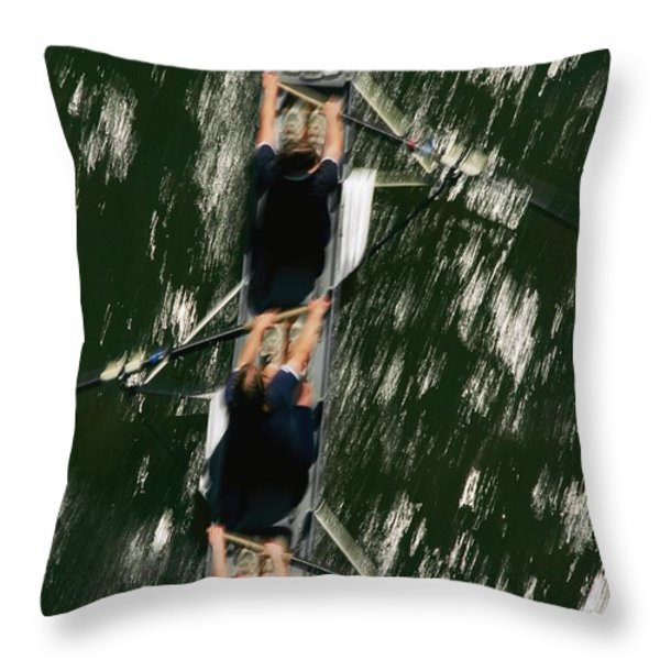 Skullers On The Potomac River In D.c Throw Pillow by Brian Gordon Green