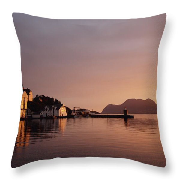 Skyline Of Town At Dusk Throw Pillow by Axiom Photographic