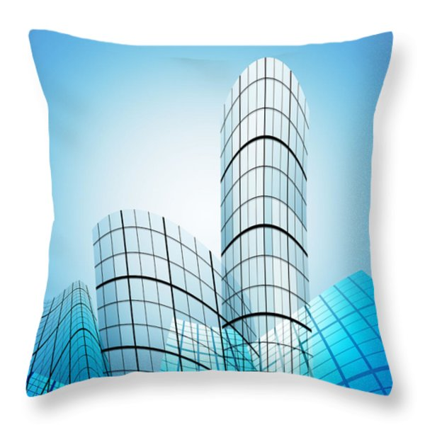 skyscrapers in the city Throw Pillow by Setsiri Silapasuwanchai