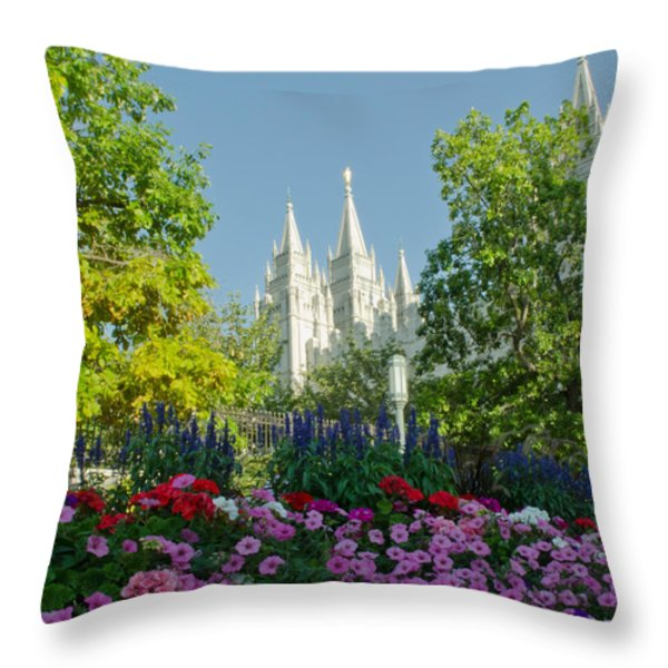 SLC Temple Flowers Throw Pillow by La Rae  Roberts
