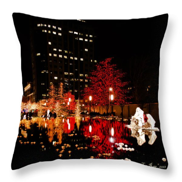 Slc Temple Nativity Pond Throw Pillow by La Rae  Roberts