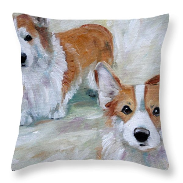 Smarty And Rosie Throw Pillow by Mary Sparrow