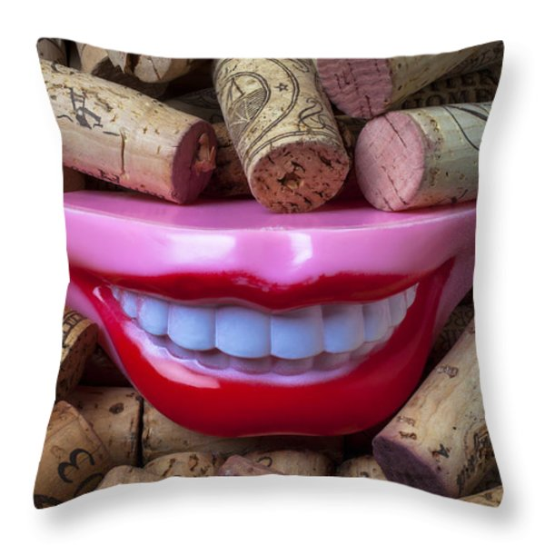 Smile among wine corks Throw Pillow by Garry Gay