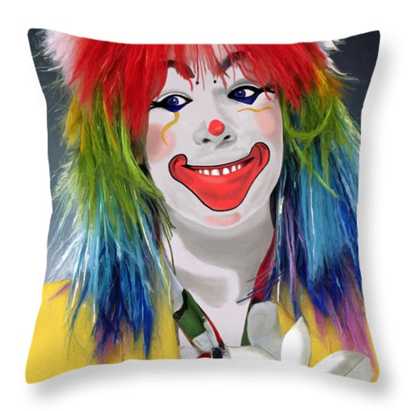 Smiling Clown Throw Pillow by Methune Hively