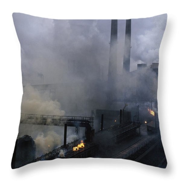 Smoke Spews From The Coke-production Throw Pillow by James L. Stanfield