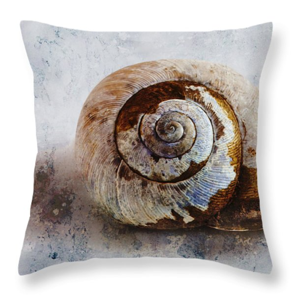 Snail Shell Throw Pillow by Ron Jones