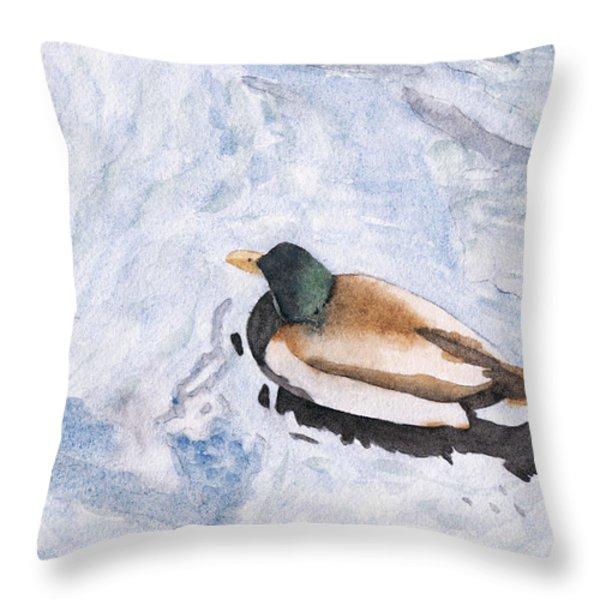 Snake Lake Duck Sketch Throw Pillow by Ken Powers