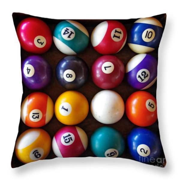 Snooker Balls Throw Pillow by Carlos Caetano