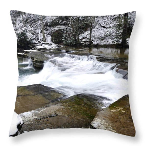 Snow Along The Back Fork Of Elk River Throw Pillow by Thomas R Fletcher