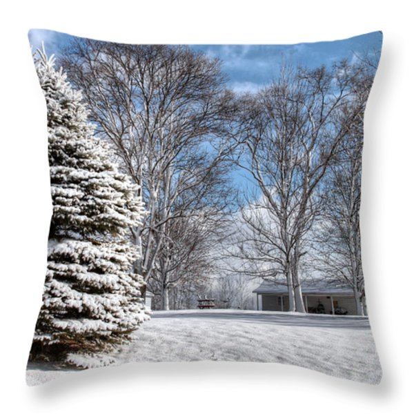 Snow Covered Pine Throw Pillow by Richard Gregurich