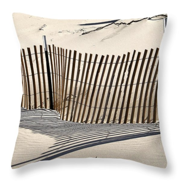 Snow Fence Shadows Throw Pillow by Richard Gregurich
