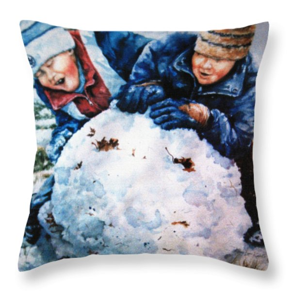 Snow Fun Throw Pillow by Hanne Lore Koehler