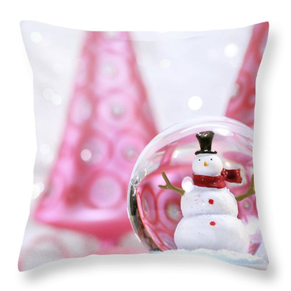 Snow Globe With Pink  Trees Throw Pillow by Sandra Cunningham