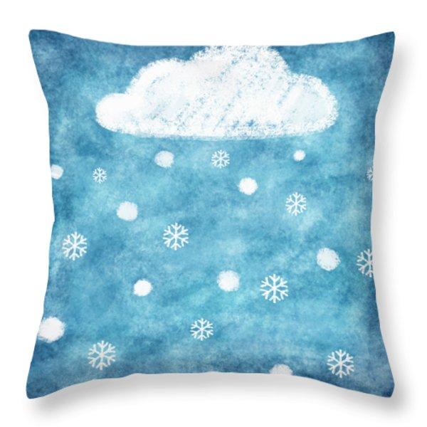 snow winter Throw Pillow by Setsiri Silapasuwanchai
