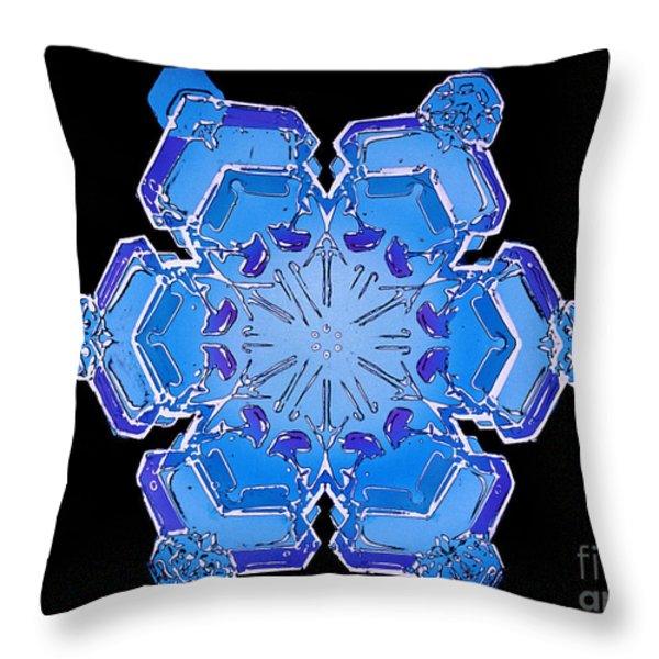 Snowflake From A Resin Cast Throw Pillow by Science Source