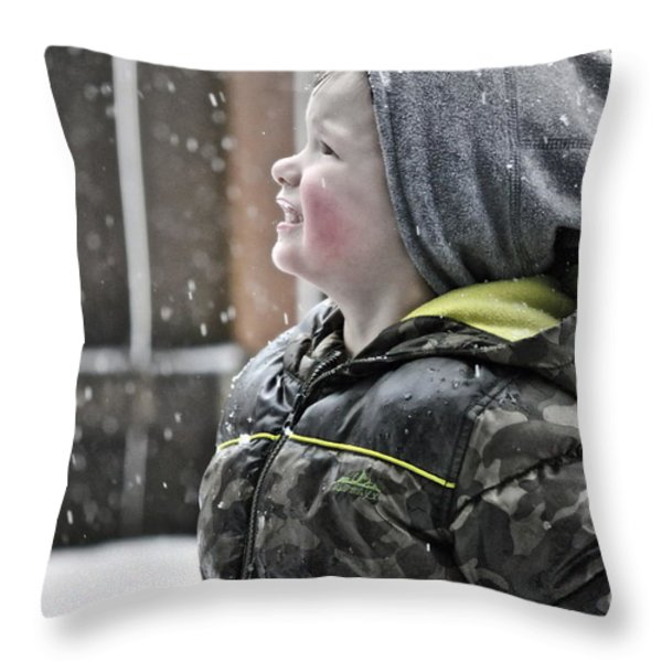 Snowflake Thoughts Throw Pillow by Gwyn Newcombe
