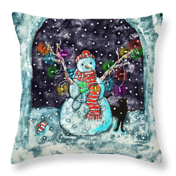 Snowman and Cat Throw Pillow by Catherine Martha Holmes