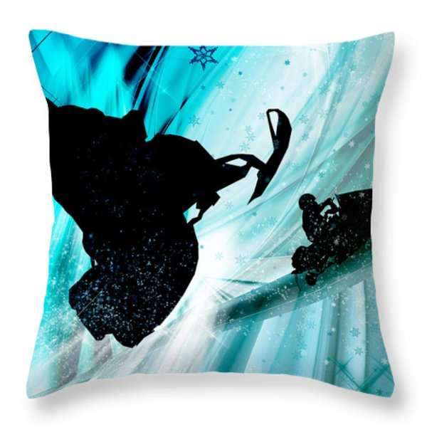 Snowmobiling On Icy Trails Throw Pillow by Elaine Plesser