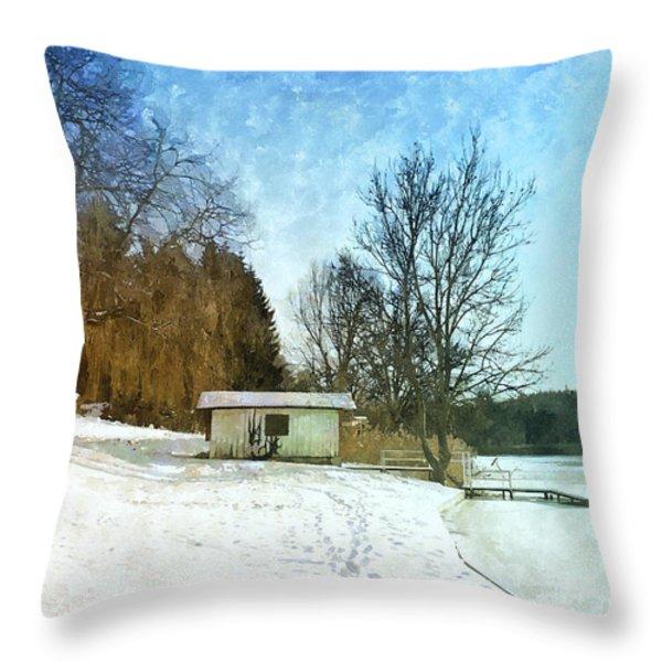 Snowy Beach Throw Pillow by Jutta Maria Pusl