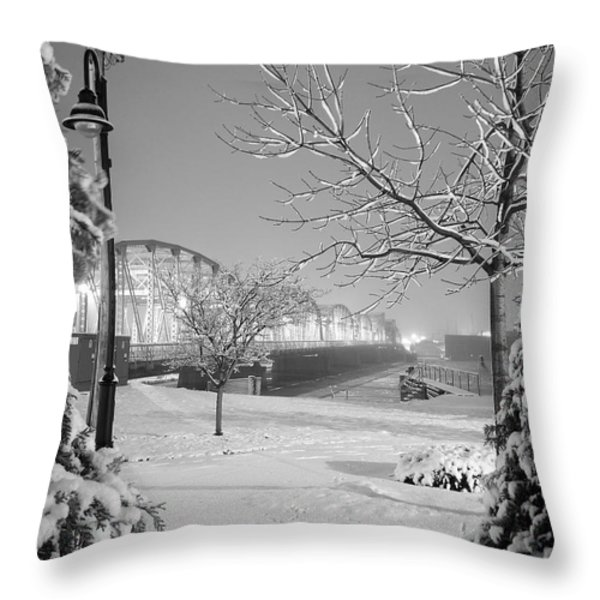Snowy Bridge With Trees Throw Pillow by Jeremy Evensen