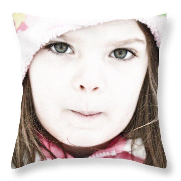 Snowy Innocence Throw Pillow by Gwyn Newcombe