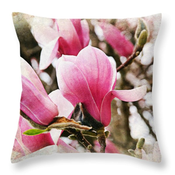 Snowy Magnoila Mist  Throw Pillow by Andee Design
