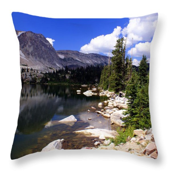 Snowy Mountain Lake Throw Pillow by Marty Koch