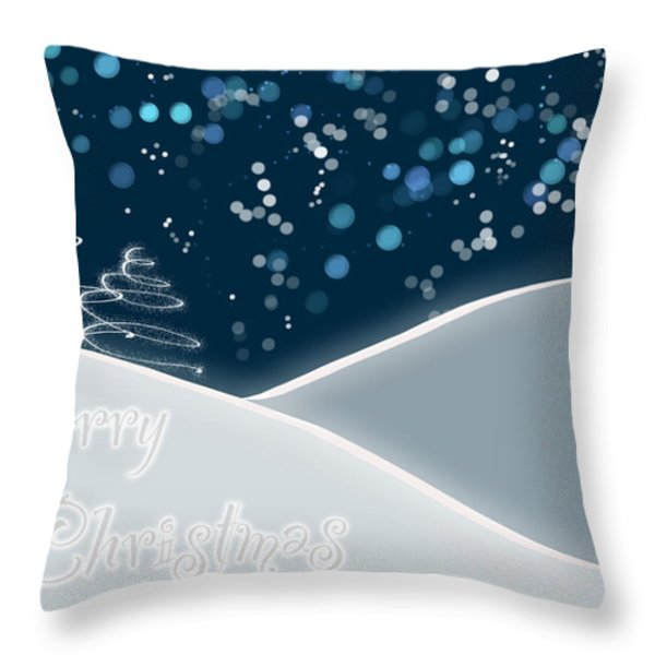Snowy Night Christmas Card Throw Pillow by Lisa Knechtel