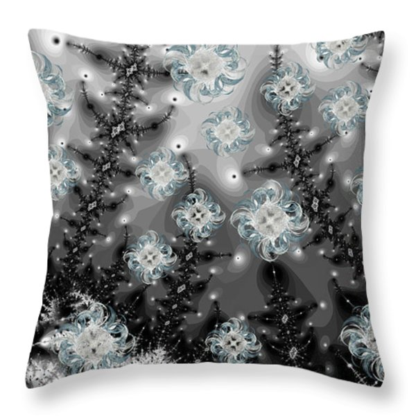 Snowy Night I Fractal Throw Pillow by Betsy A  Cutler