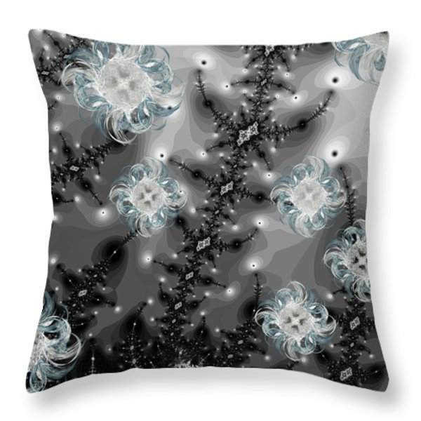 Snowy Night II Fractal Throw Pillow by Betsy A  Cutler