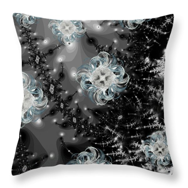 Snowy Night IIi Fractal Throw Pillow by Betsy A  Cutler