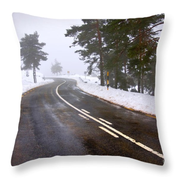 Snowy road Throw Pillow by Carlos Caetano