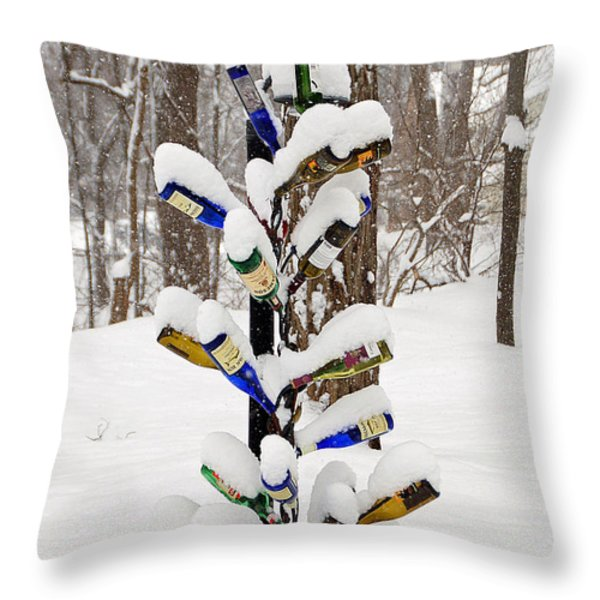 Snowy Wine Bottle Sculpture Throw Pillow by Aimee L Maher Photography and Art Visit ALMGallerydotcom