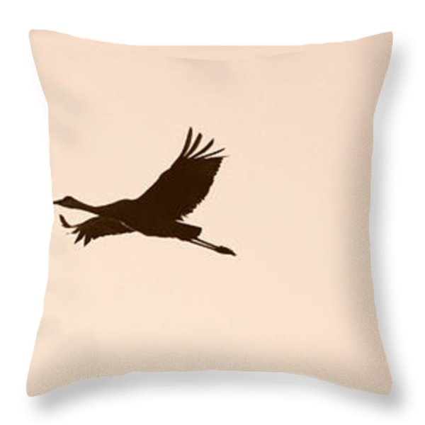 Soaring Sandhills Silhouette Throw Pillow by Carol Groenen