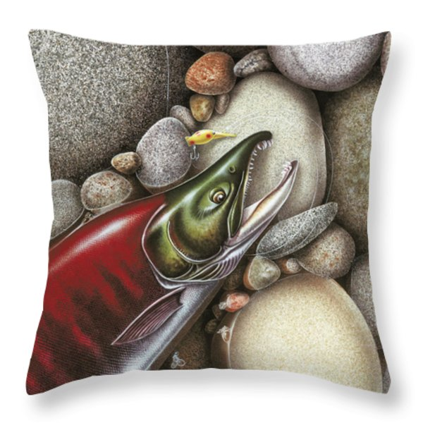 Sockeye Salmon Throw Pillow by JQ Licensing