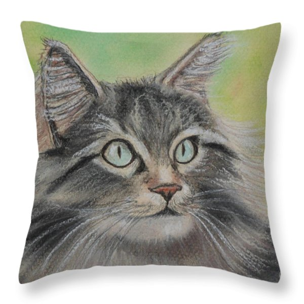 Soft Kitty Throw Pillow by Julie Brugh Riffey