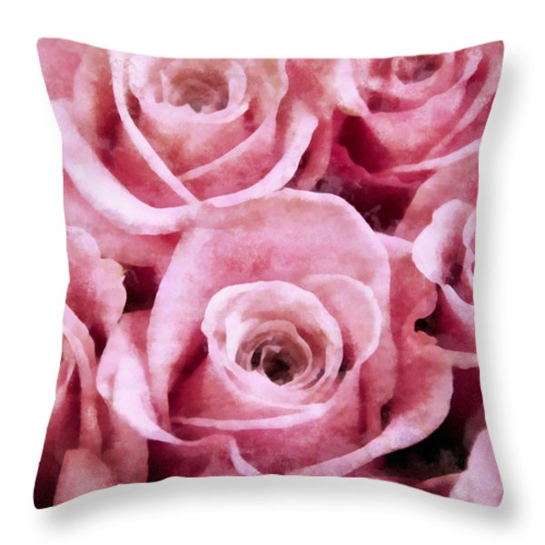 Soft Pink Roses Throw Pillow by Angelina Vick